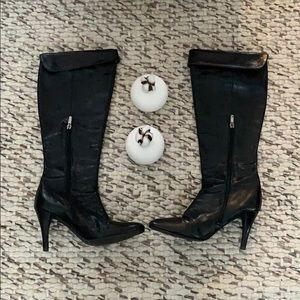 Enzo Angiolini Leather Knee High Fold Over Boots
